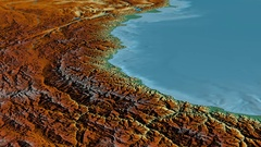 Glide over Pontic mountain range - masks. Relief map Stock Footage