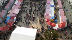Christmas fair top view from city hall at day time Stock Footage