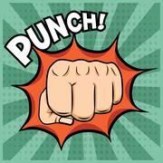 Vector fist punching illustration in pop-art style Stock Illustration
