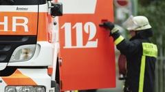 German Fire Department- Fireman at work Stock Footage