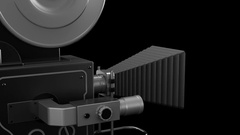 Old style movie camera 3D animation. Stock Footage