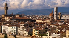 Beautiful views of Florence and Cathedral Santa Maria del Fiore, evening, Floren Stock Footage