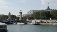 PARIS, FRANCE - Famous Pont Alexandre III bridge art over Seine Stock Footage