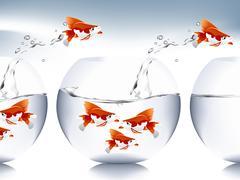 Goldfish jumping Stock Illustration
