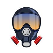 Gas mask stencil isolated over Stock Illustration