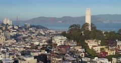 Moving Aerial around Coit Tower, San Francsico Skyline Stock Footage