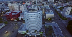 Capitol records Building  aerial Fly Around Stock Footage