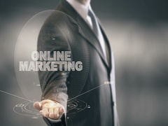 Online Marketing Businessman Holding in Hand New technologies Stock Footage