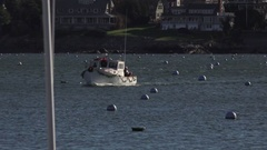 Zoom Out Christmas Boat Arriving to Parade Stock Footage