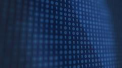 Blue modern futuristic Computer Binary Code software Stock Footage