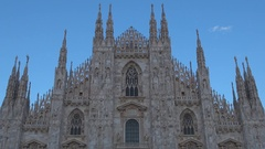 Famous Milan Cathedral monument at twilight Italian church building landmark  Stock Footage
