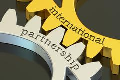 International Partnership concept on the gearwheels, 3D rendering Stock Illustration