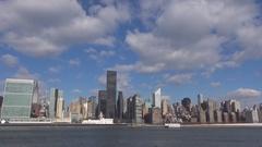Amazing New York City skyline with Chrysler building Manhattan panorama icon day Stock Footage