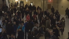 Commuter people wait in Grand Central Terminal Main Concourse New York City USA Stock Footage