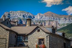 Torla town in Ordesa National pakr in the spanish pyrenees. Stock Photos