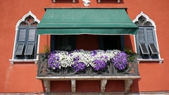 Venice balcony covered in flowers. Stock Footage