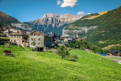 Torla town in Ordesa National pakr in the spanish pyrenees. Stock Photos