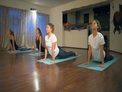 People doing upward facing dog, Urdhva Mukha Svanasana on mats in a yoga studio Stock Footage