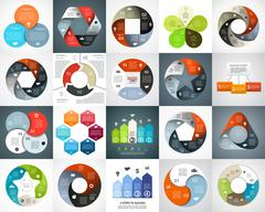Vector circle arrows infographic set, cycle diagram, graph, presentation chart Piirros