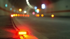 Ground caution signal lights in newly built tunnel. Stock Footage