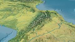 Revolution around Pyrenees mountain range - masks. Topographic map Stock Footage