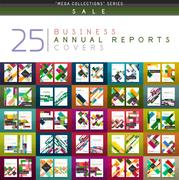 Mega collection of 25 business annual reports brochure cover templates Stock Illustration