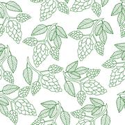 Hops plant seamless pattern, hand drawing style. Hops background. Hops wall.. Stock Illustration