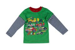 Children green striped sweater with long sleeves. Stock Photos