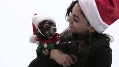 Young Brunette woman cuddles and kisses Chihuahua with Santa hat. Arkistovideo