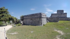 Editorial shot of beach side Mayan ruins in Tulum Mexico Arkistovideo