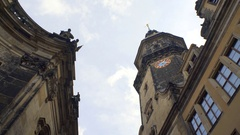 Dresden Hausmannsturm Castle clock tower, low angle, Germany Stock Footage