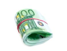 100 Euro rolled isolate Stock Photos