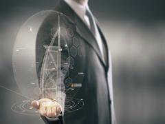 Businessman holding in Hand Landmark Burj al-Arab New technologies Stock Footage