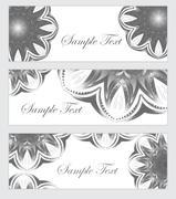 Set Mandala banner, banner abstract patterns. Black and white banner design.. Stock Illustration
