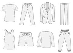 Clothing set sketch. Men's clothes, hand-drawing style. Business suit, jogg.. Stock Illustration