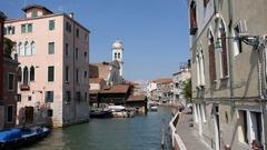 Squero Di San Trovaso Gondola Boatyard Canal Stock Footage
