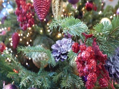 Xmas. Bright decorations on the Christmas tree. Close-up and out-of-focus. Stock Footage