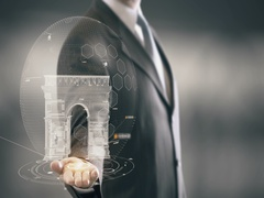 Arc de Triomphe France Businessman Holding in Hand Landmark New technologies Stock Footage