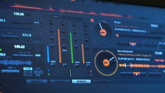 Instrumental panel of DJ on the computer display Stock Footage