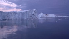 Sailing near the glacier in Greenland Stock Footage
