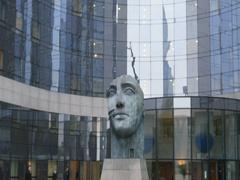 Statue in La Defense Paris Stock Footage