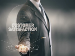 Customer Satisfaction Businessman Holding in Hand New technologies Stock Footage