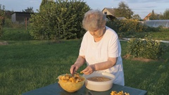 Elderly woman separates chanterelle mushrooms Stock Footage
