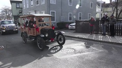 Vintage Car Throwing Candy Christmas Parade Stock Footage
