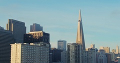 Aerial of San Francisco city skyline to transamerica building Stock Footage
