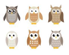 Cute cartoon owl set. Owls in shades of gray. Vector illustration Stock Illustration