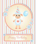 Greeting template cute children s birthday party, cartoon sheep Stock Illustration