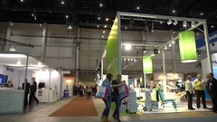 Many visitors to the dental exhibition. Stock Footage