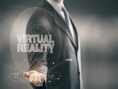 Virtual Reality Businessman Holding in Hand New technologies Stock Footage