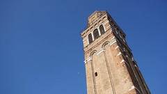 Venice Italy Bell Tower Against Blue Sky Stock Footage